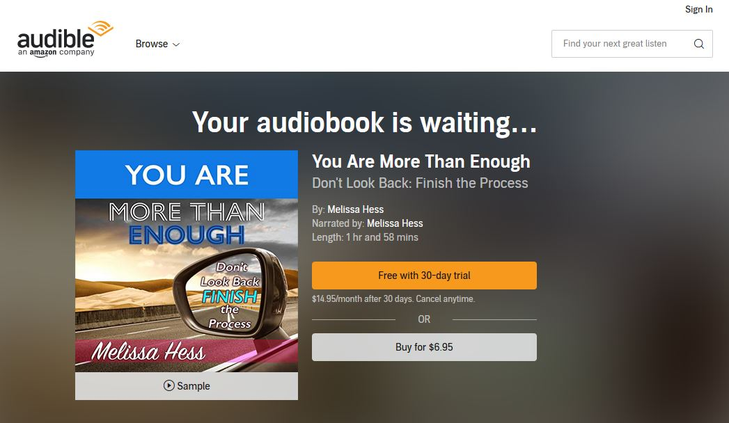 Audible Book Announcement-You Are More Than Enough